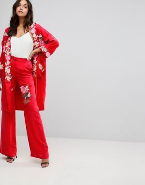 Millie Mackintosh Брюки с широкими штанинами и вышитыми розами. Цвет: красный