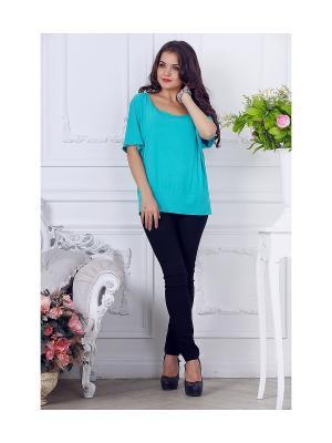 Блузка LIORA. Цвет: бирюзовый, голубой