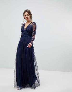 ASOS Платье макси с длинными рукавами. Цвет: темно-синий