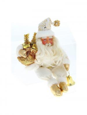 Дед Мороз в бело-золотой шубке, 32см. А М Дизайн. Цвет: золотистый, персиковый, белый, коралловый