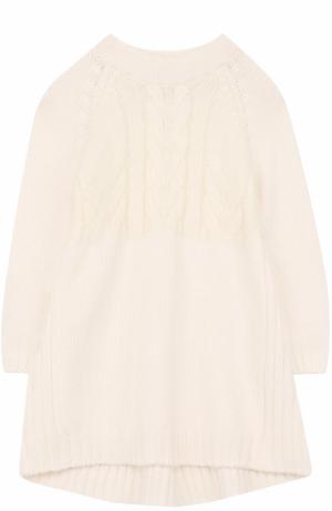 Кашемировое платье с фактурным узором Loro Piana. Цвет: белый