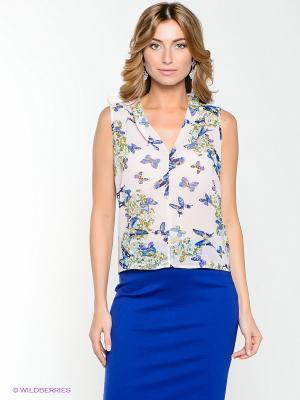 Блузка IMAGO. Цвет: белый, синий