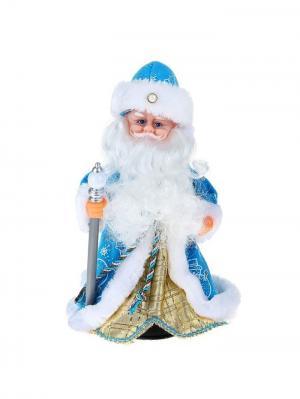 Дед Мороз музыкальный в голубой шубке с посохом шапке жемчужинкой  (русская мелодия),29см А М Дизайн. Цвет: лазурный, голубой, серебристый, коралловый, розовый, золотистый, белый