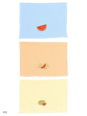 Кухонные полотенца ЛЮКС 3шт.45*65 см Dorothy's Нome. Цвет: синий, лазурный, голубой, светло-голубой, светло-оранжевый