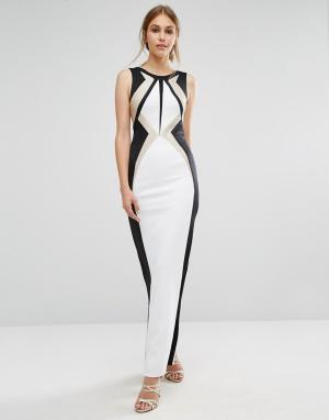 Forever Unique Черно-белое платье макси Ainsley. Цвет: кремовый
