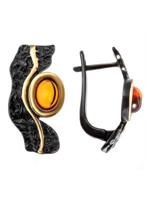 Серьги Балтийское золото. Цвет: черный, горчичный, желтый, золотистый, оранжевый