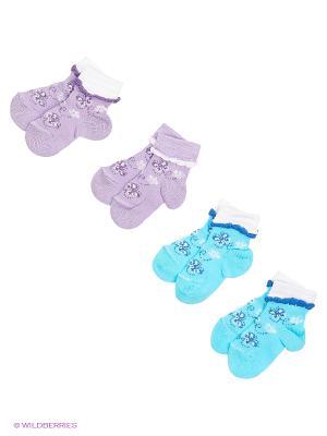Носки, 4 пары Гамма. Цвет: сиреневый, белый, бирюзовый