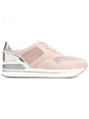 Кроссовки с контрастной панелью Hogan. Цвет: розовый и фиолетовый