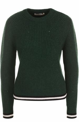 Пуловер фактурной вязки с круглым вырезом Bally. Цвет: темно-зеленый