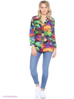 Блуза Ариана Runika. Цвет: бирюзовый, красный