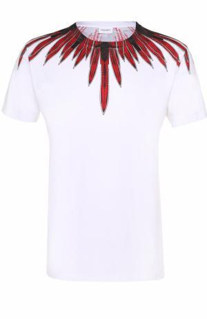 Хлопковая футболка с принтом Marcelo Burlon. Цвет: белый