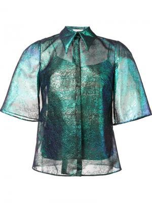 Кружевная рубашка с отливом Delpozo. Цвет: синий