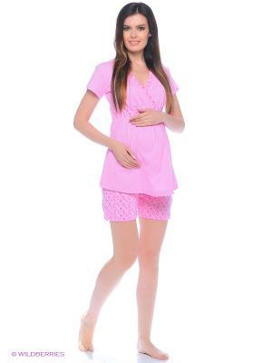 Комплект домашней одежды для беременных и кормления (блузка, шорты) 40 недель. Цвет: розовый