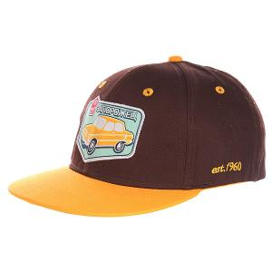 Бейсболка с прямым козырьком детская  Авто Снэп Brown/Yellow Запорожец. Цвет: коричневый,оранжевый