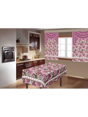 Комплект для кухни Динос скатерть150х180+шторы 150х180-2шт МарТекс. Цвет: розовый, белый
