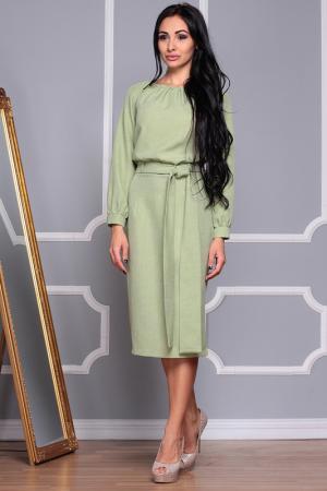 Полуприлегающее платье с длинными рукавами REBECCA TATTI. Цвет: оливковый