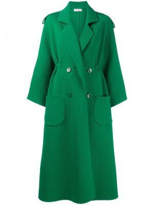 Длинное двубортное пальто Vika Gazinskaya. Цвет: зелёный