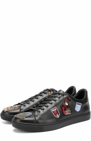 Кожаные кеды London с аппликациями Dolce & Gabbana. Цвет: черный