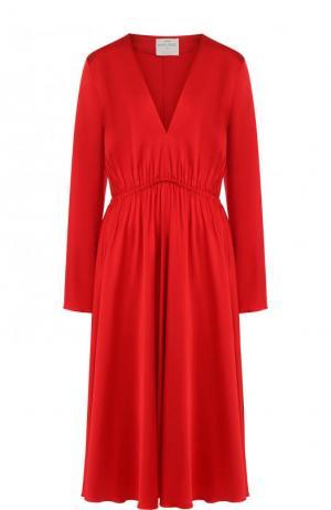 Приталенное платье-миди с V-образным вырезом Forte_forte. Цвет: красный
