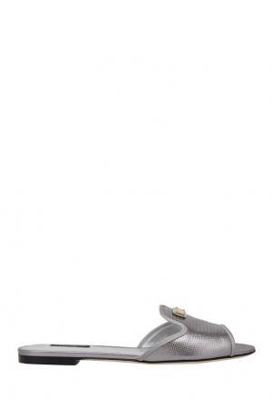 Сандалии из металлизированной кожи Dolce&Gabbana. Цвет: серебряный