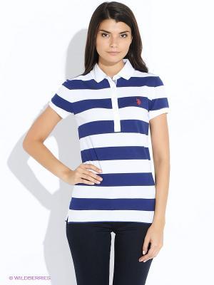 Футболка-поло U.S. Polo Assn.. Цвет: темно-синий, белый