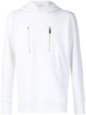 Свитер на молнии с капюшоном Ovadia & Sons. Цвет: белый