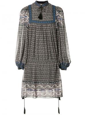 Платье в крестьянском стиле Ulla Johnson. Цвет: синий