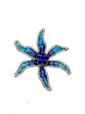 Брошь Bijoux Land. Цвет: серебристый, синий, голубой