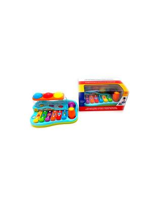 Ксилофон с молоточком и шарами HUILE. Цвет: голубой, красный, желтый