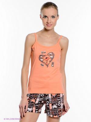 Пижама Vienetta Secret. Цвет: светло-оранжевый, коричневый