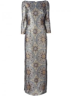 Длинное платье с орнаментом Vilshenko. Цвет: телесный