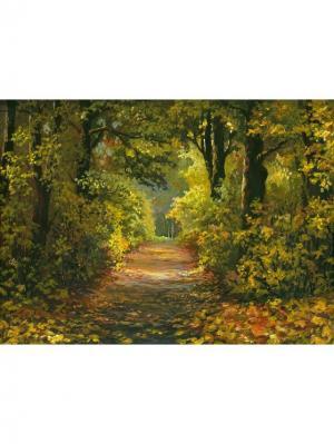 Картина лесная дорога Ecoramka. Цвет: светло-зеленый, коричневый, светло-коричневый