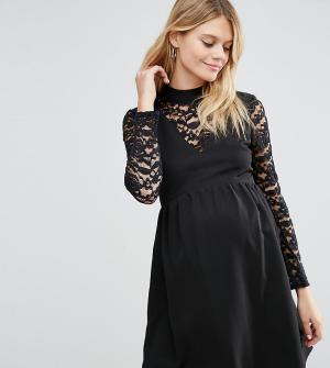 ASOS Maternity Платье для беременных с высоким воротом и кружевными вставками Ma. Цвет: черный