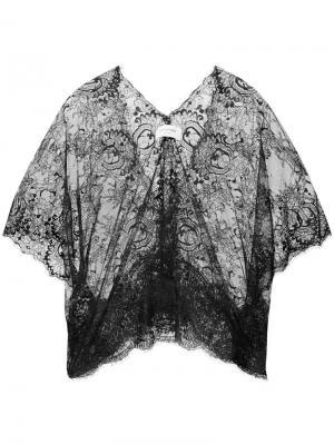 Кружевная блузка с V-образным вырезом Loyd/Ford. Цвет: чёрный