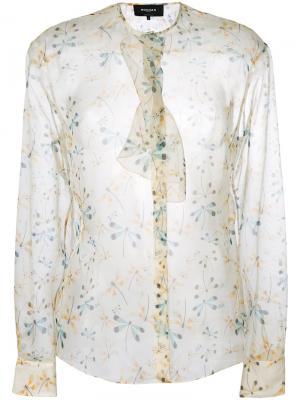 Прозрачная блузка с цветочным принтом Rochas. Цвет: телесный