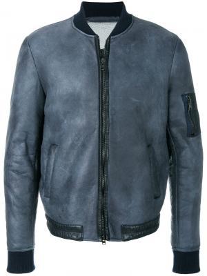 Куртка-бомбер с потертым эффектом Salvatore Santoro. Цвет: синий