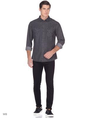 Рубашка WESTERN DENIM Wrangler. Цвет: темно-серый