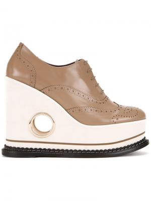 Туфли на танкетке Covita Paloma Barceló. Цвет: коричневый