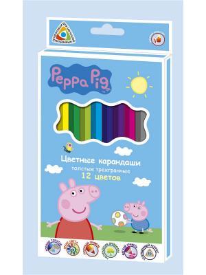 Цветные карандаши Свинка Пеппа, толстые, трехгранные, 12 цветов Peppa Pig. Цвет: голубой