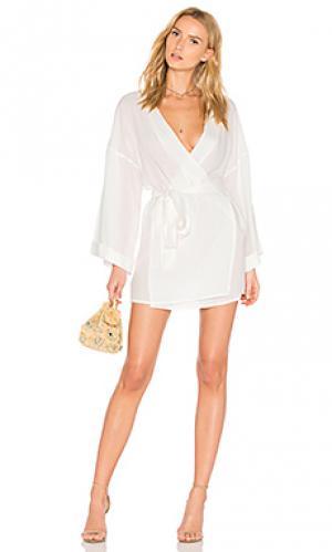Платье с запахом san miguel LIONESS. Цвет: белый