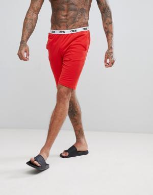 ASOS Трикотажные пижамные шорты с логотипом на поясе. Цвет: красный