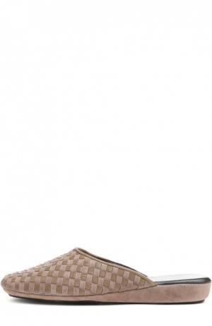 Плетеные домашние туфли на танкетке Homers At Home. Цвет: бежевый