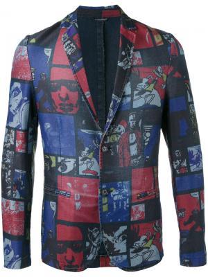 Пиджак с рисунком в виде комиксов Daniele Alessandrini. Цвет: синий