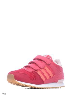 Кроссовки дет. спорт. ZX 700 CF C  CRAPNK/RAYPNK/FTWWHT Adidas. Цвет: розовый, белый, малиновый