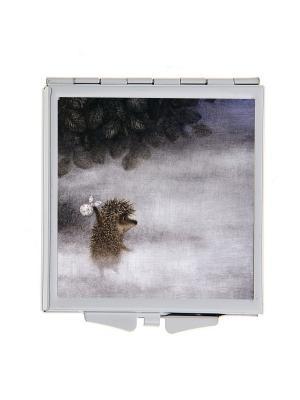 Зеркальце карманное Ежик в тумане Арт. Chocosq-003 Chocopony. Цвет: серый, белый