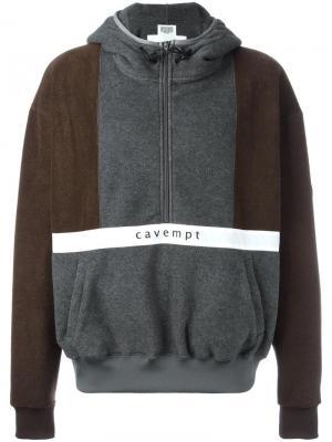 Толстовка Cavempt с капюшоном и принтом C.E.. Цвет: коричневый