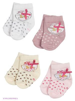 Носки для новорожденных PERA MAYA. Цвет: белый, фиолетовый, розовый, кремовый