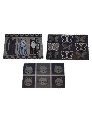 Набор из 3-х ковриков PETS Bizzotto. Цвет: черный, темно-серый
