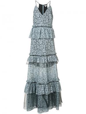 Длинное платье Brianna с цветочным узором Zac Posen. Цвет: синий
