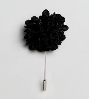 Noose & Monkey Булавка на лацкан с блестящим цветком. Цвет: черный